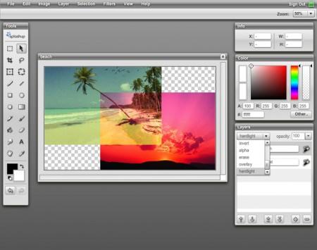 splashup, рабочее поле, слои, фотошоп, photoshop online