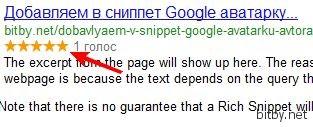 Рейтинг статьи в сниппете Google