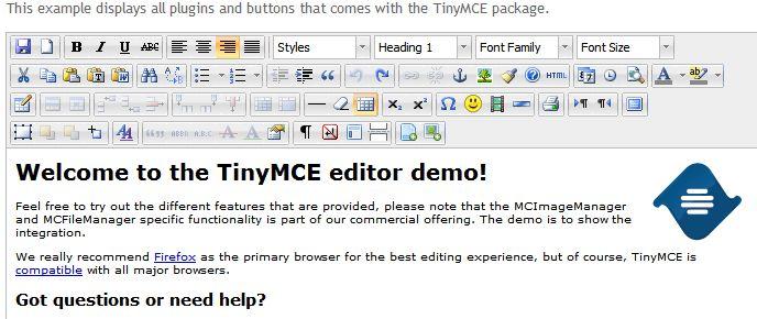 WYSIWYG редактор TinyMCE.