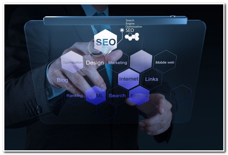 19646275 - businessman hand showing search engine optimization seo as concept
